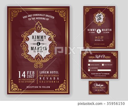 Vintage luxurious wedding invitation  35956150
