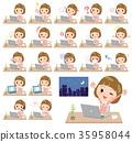 Straight bangs hair pink blouse women_desk work 35958044