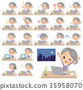 Purple clothes grandmother_desk work 35958070