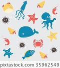 Sea life underwater cartoon animals 35962549