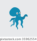 Funny cartoon octopus on white background 35962554
