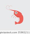Funny cartoon shrimp on white background 35963211