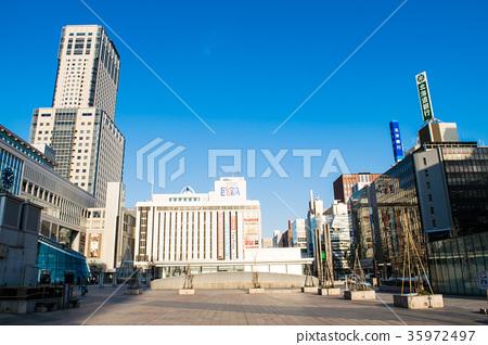 삿포로 도시 풍경 삿포로 역 JR 타워 미나미 구치 역전 광장 35972497
