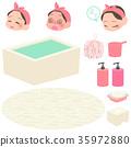 목욕하는 여자와 목욕 용품 세트 35972880
