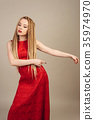 beautiful trend young woman dressed in a red dress 35974970
