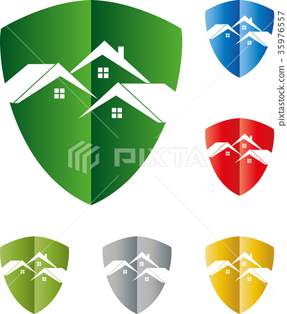 Houses, roofs, coats of arms, real estate, logo 35976557