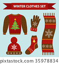 Winter warm clothes icon set, flat style 35978834