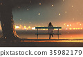 young woman sitting on a bench with bokeh light 35982179