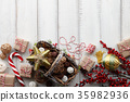 Christmas background with toys, decorations and 35982936