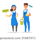 cleaning service man and woman 35987071