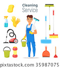 cleaning service man character 35987075
