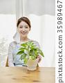 마스크, 식물, 여자 35989467