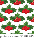 Christmas berry decorative leaves holly branches 35989905