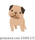 강아지 퍼그 일러스트 35995172