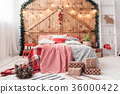 Xmas in morning bedroom. Double bed In christmas 36000422