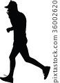 runner, silhouette, vector 36002620