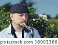 Musician Saxophone Roses Field 36003368