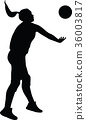 volleyball woman player silhouette 36003817