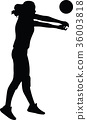 volleyball woman player silhouette 36003818