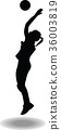volleyball woman player silhouette 36003819