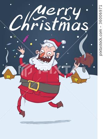Christmas card with funny Santa Claus. Santa 36006971