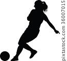 soccer women silhouette. girl player vector 36007015