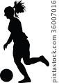 soccer women silhouette. girl player vector 36007016