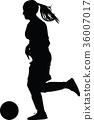 soccer women silhouette. girl player vector 36007017