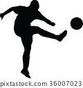 soccer women silhouette. girl player vector 36007023