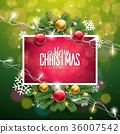 Christmas Illustration on Green Background with 36007542