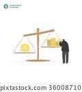 Businessman balance money and idea vector 36008710