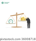 Businessman balance money and time vector 36008718
