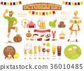 Oktoberfest Vector Poster Depicting Food and Beer 36010485