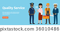 Quality Service of 4 Professions Isolated on Blue 36010486