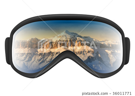 Ski goggles with reflection of mountains 36011771