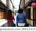 여자 여행 교토 관광 기온 뒷모습 36012415