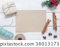 Above view  paper with decoration merry Christmas  36013173