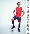 Photo of teen boy in sportswear holding soccer ball 36014228