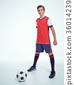 Photo of teen boy in sportswear holding soccer ball 36014239
