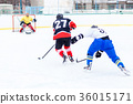 Young skater man in attack. Ice hockey game 36015171