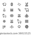 Symbols of Fabric Feature Thin Line Icon Set 36015525