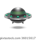 Realistic Detailed 3d Ufo Flying Spaceship. Vector 36015617