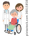 在白色外套护士患者的男性轮椅的 36015858