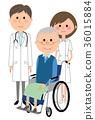 在白色外套护士患者的男性轮椅的 36015884