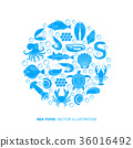 Seafood and fish icons 36016492