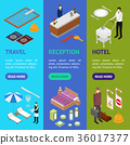 Hotel Service Banner Vecrtical Set Isometric View 36017377