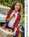 Mixed Race Female Leaning on Tractor Eating Apple 36018017