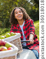 Female Teenager Driving Tractor Picking Apples 36018018