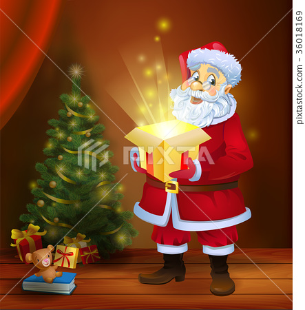Christmas miracle - Santa Claus holding a box with 36018169
