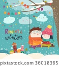 cute winter cartoon couple swinging 36018395